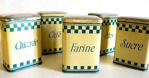 Ensemble Boites De Cuisine Anciennes